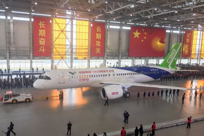 First made-in-china large commercial aircraft , C919 rolled off production line.
