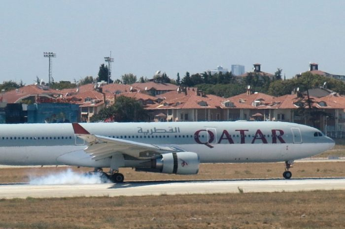 Qatar Airways plane is forced to make emergency landing in Turkey after engine catches fire