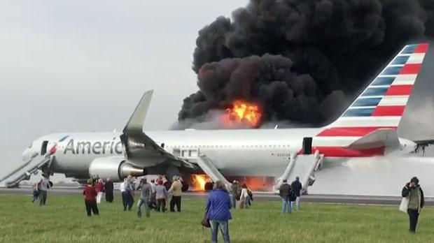 American Airlines jet catches fire on takeoff at Chicago airport .