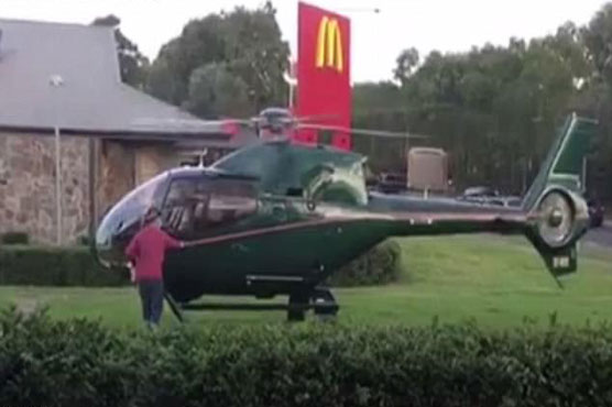 Hungry pilot lands his helicopter at McDonalds to grab some food