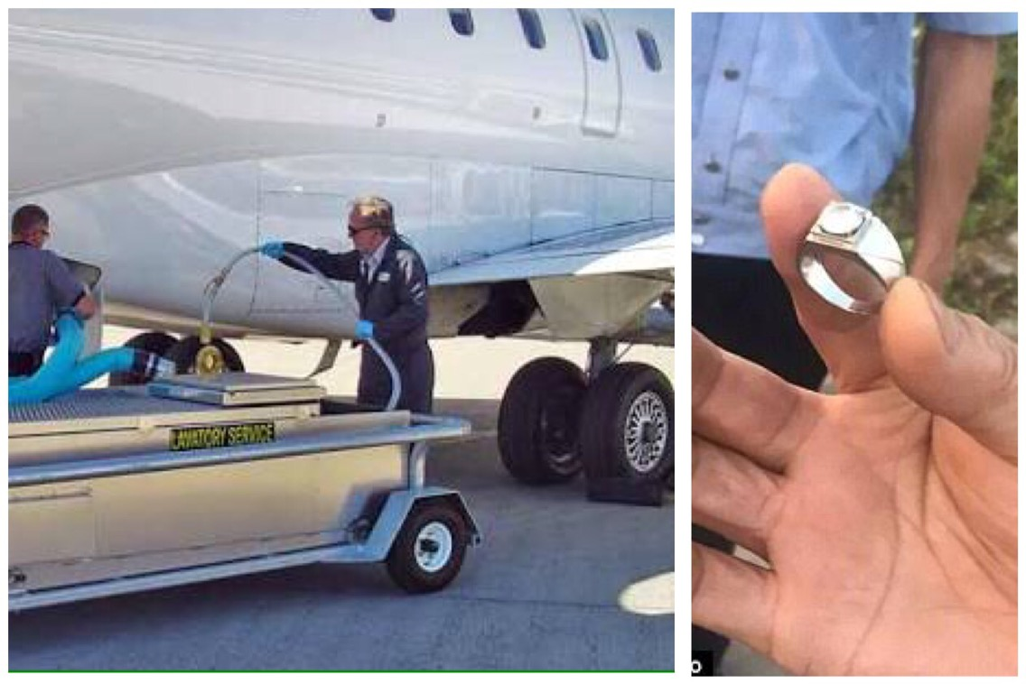 A passenger recovered his 300000 yuan (US$43700 ) diamond ring that he accidentally flushed in Aircraft Toilet .