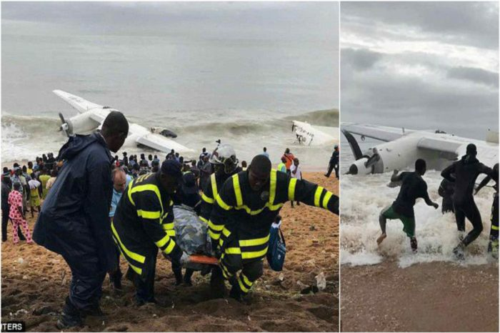 Charted plane by the French Army smashes into the sea off the Ivory Coast after taking off in the thunderstorm