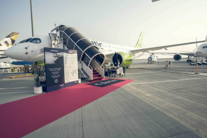 airBaltic Exhibits CS300 at 2017 Dubai Airshow