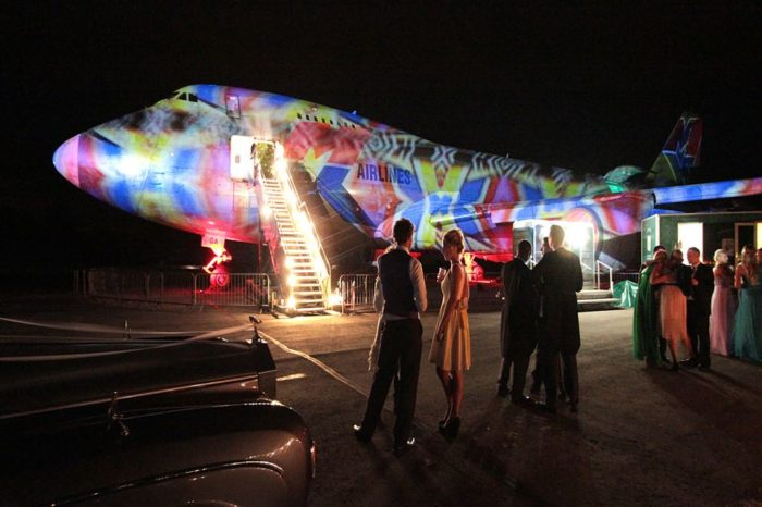 The Boeing 747 the plush Party plane available to rent for events at Cotswold Airport