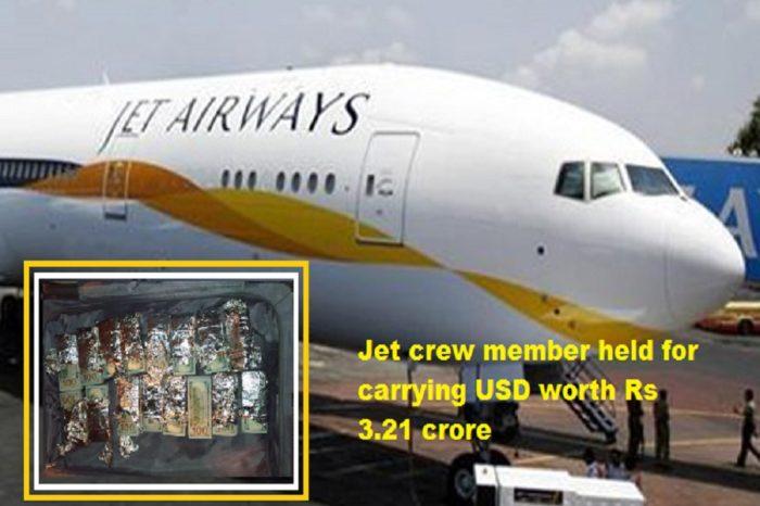 Jetairways crew member held for carrying USD worth Rs 3.21 crore