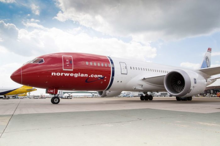 Norwegian sets new record transatlantic flight time from New York to London with a Dreamliner aircraft