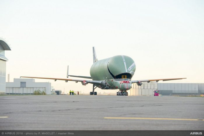 First BelugaXL transporter rolls out