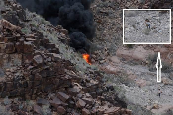 Incredible picture captures moment woman walks away from wreckage of Grand Canyon helicopter crash