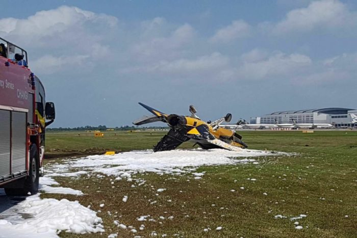 Korean Black Eagles aircraft skids and catches fire on Changi Airport.
