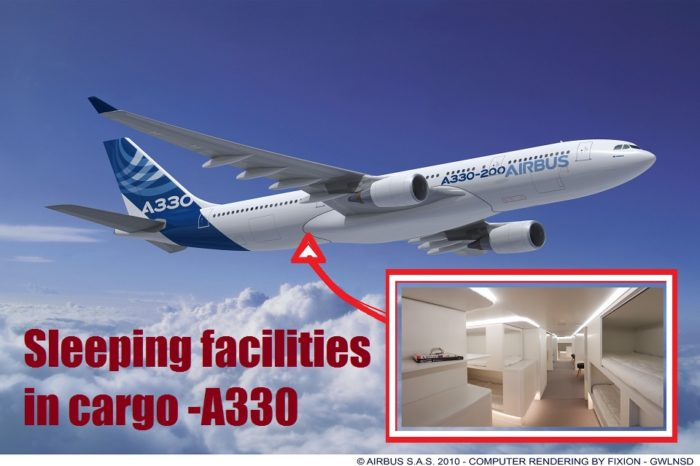 Airbus introducing new lower-deck passenger sleeping facilities in cargo compartments.